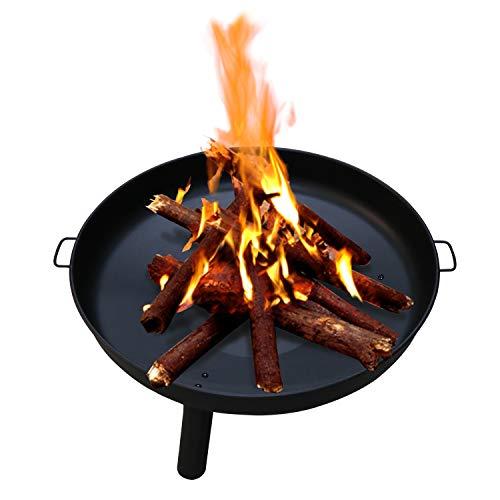 Wolketon Feuerschale Ø 82 cm, Feuerschalen Gusseisen Verzinkt mit Griffen und Abnehmbare Beine, Feuerstelle für Terrasse Draußen den Garten/Outdoor Lagerfeuer/Grillstelle