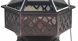 Gardebruk Feuerkorb sechseckig 70x60,5 cm Stahl Funkenfluggitter inkl. Schürhaken Feuerstelle Feuerschale Garten
